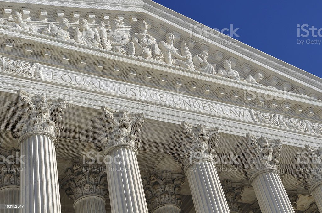The sculpture design outside the United States Supreme Court stock photo