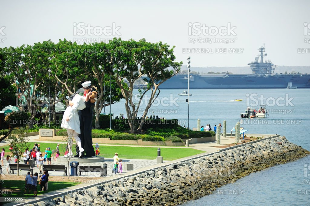 The sculpture of unconditional surrender at San Diego stock photo