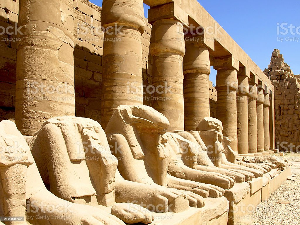 The sculptures of the temple of Karnak in Luxor stock photo