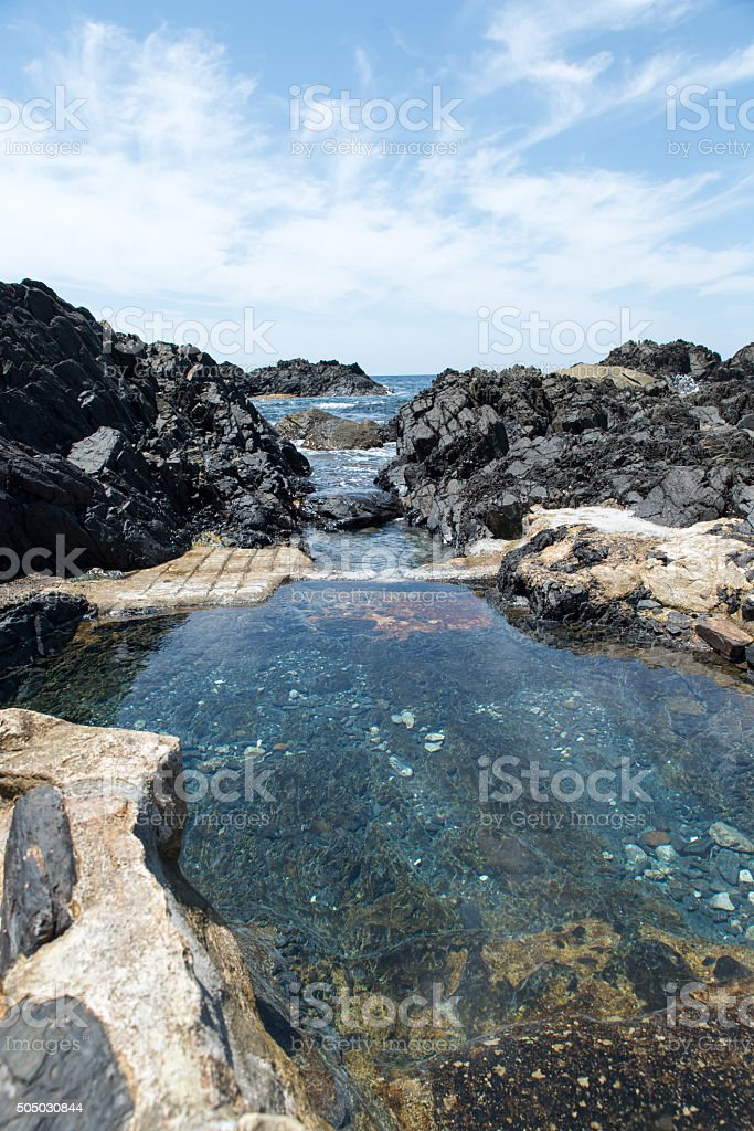 The sea and hot spring stock photo
