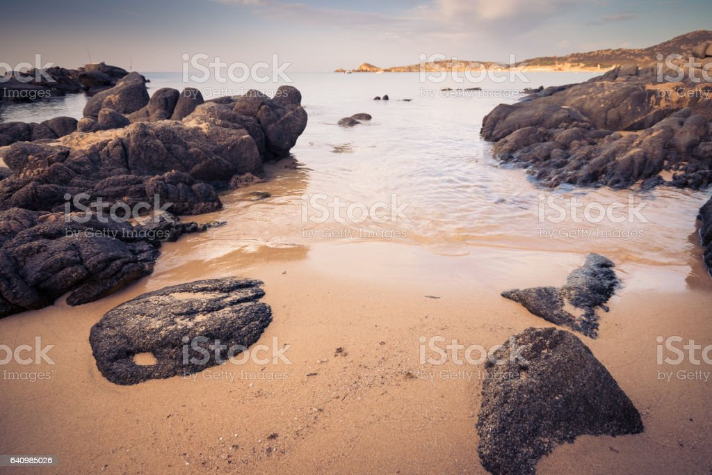 The sea and the pristine beaches of Chia, Sardinia, Italy. royalty-free stock photo