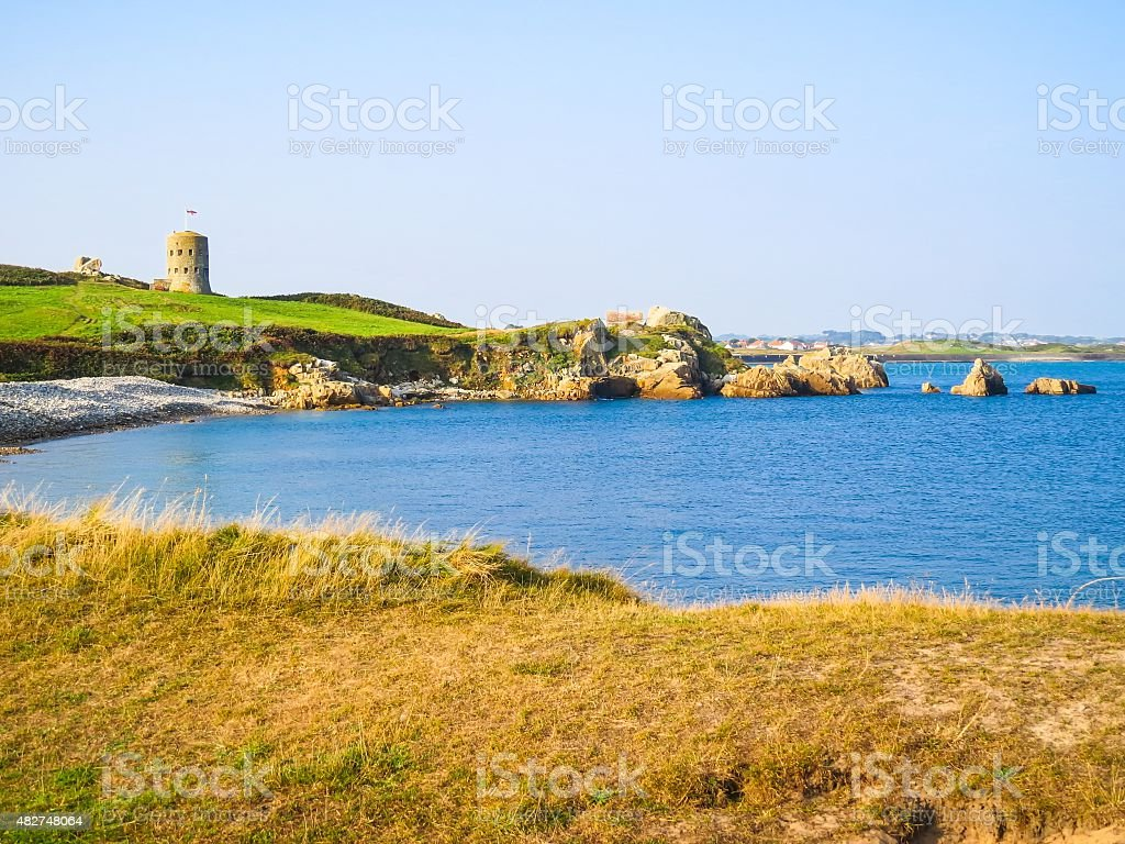 The sea gulf on the Guernsey island stock photo