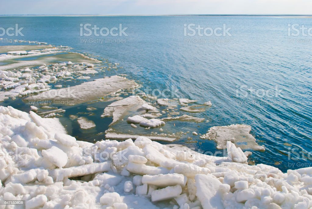 The sea in ice stock photo