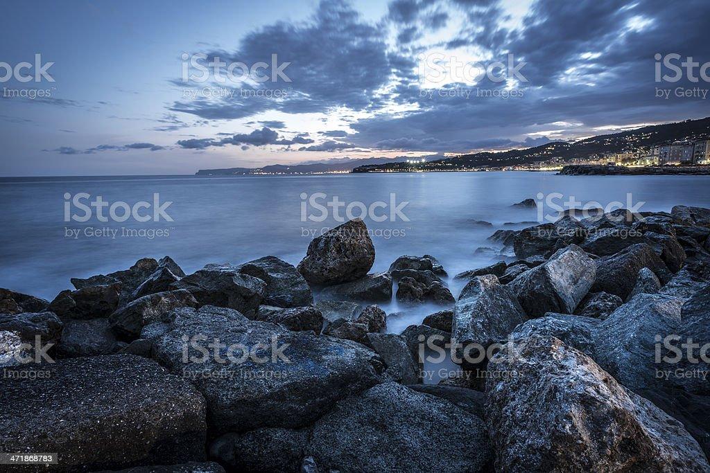 The sea of Varazze, Liguria, Italy at night. royalty-free stock photo