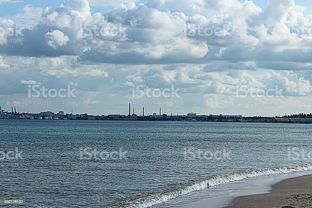 The sea on a cloudy day stock photo