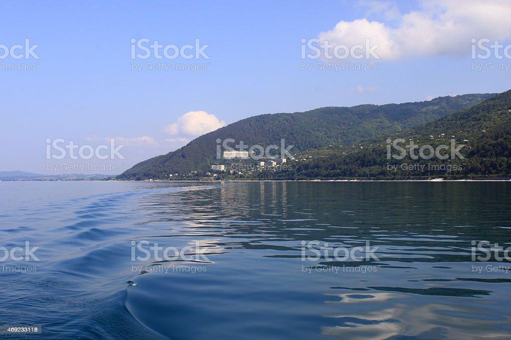 The sea surface. Calm. stock photo