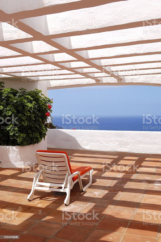 The sea view from a terrace of luxury hotel royalty-free stock photo