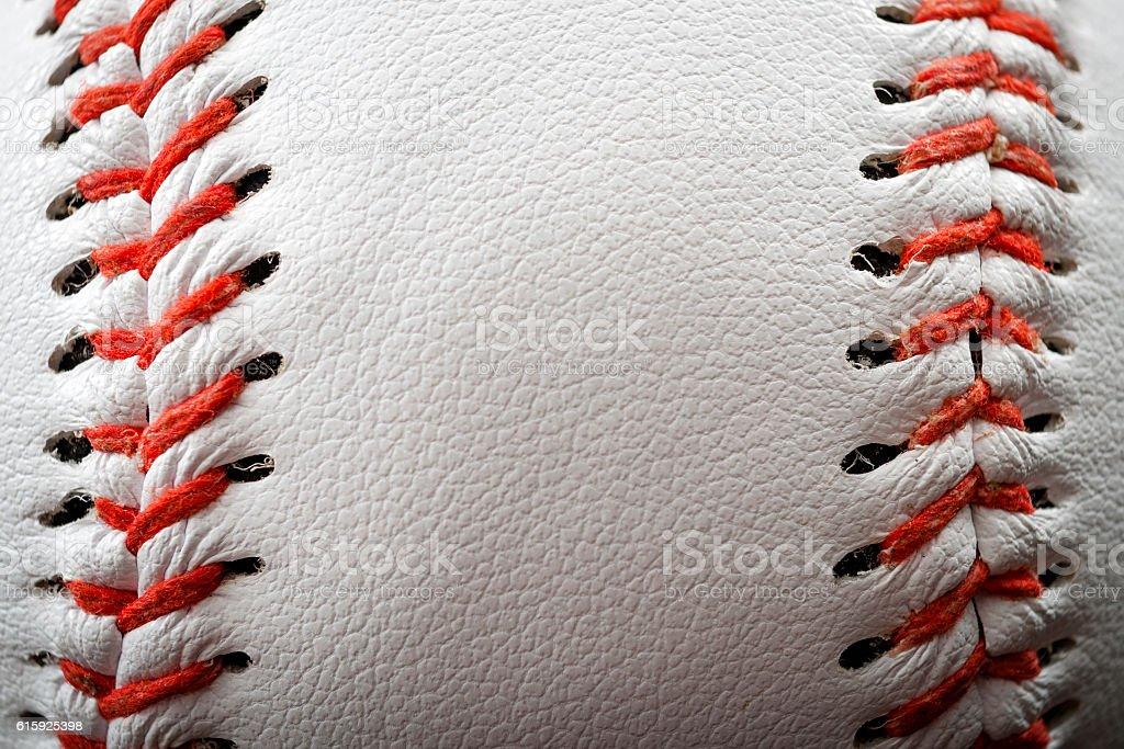 The seam on a baseball with copyspace stock photo