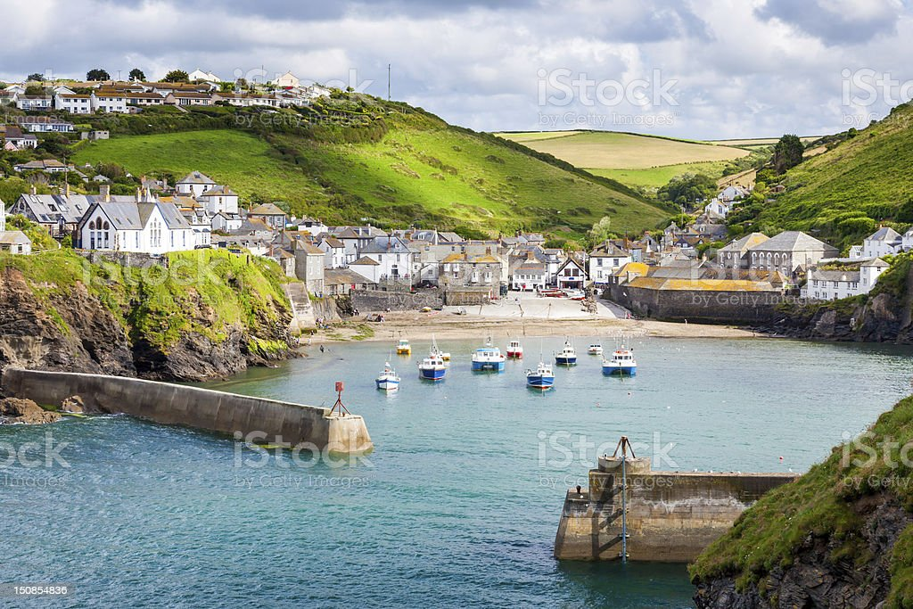 The seaside town of Port Isaac stock photo