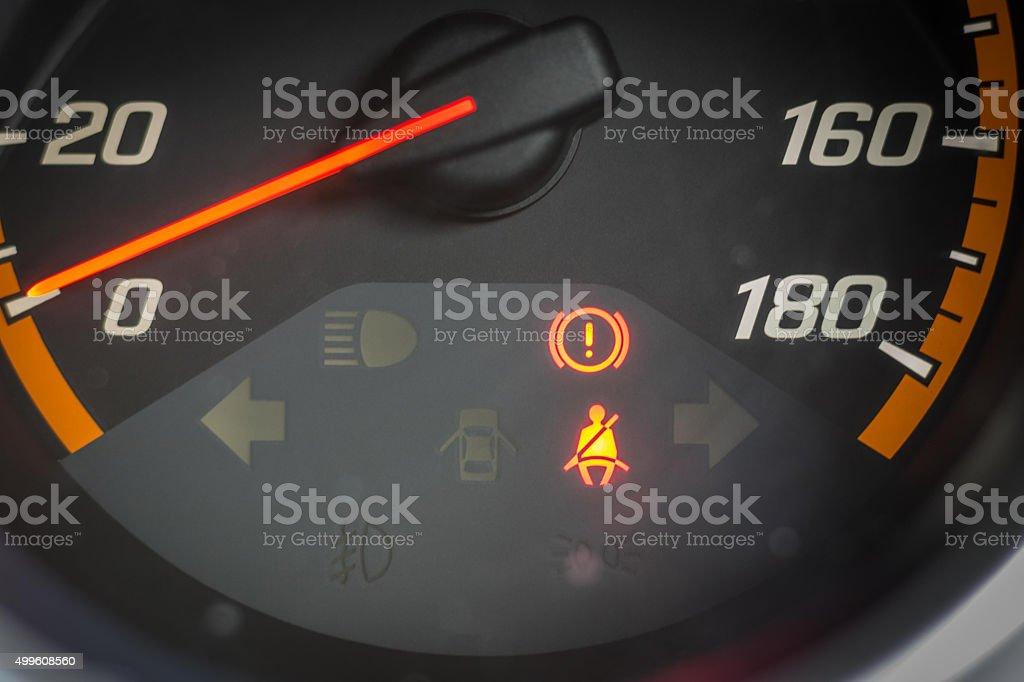The seat belt warning light stock photo