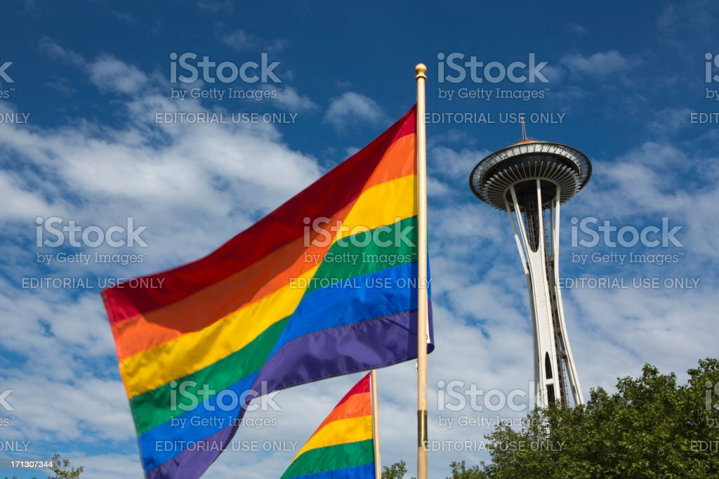The Seattle Space Needle and Gay Pride Flag royalty-free stock photo
