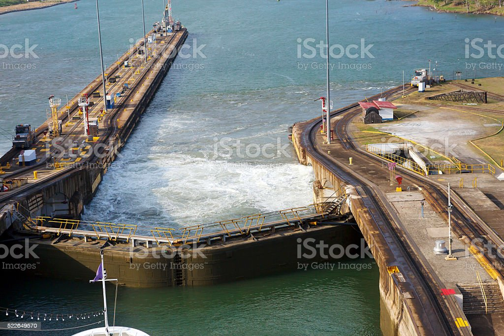 The second gateway of the Panama canal from the Pacific ocean stock photo