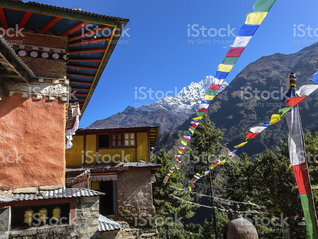 The second largest Buddhist monastery in Nepal Mountain Dingboch royalty-free stock photo