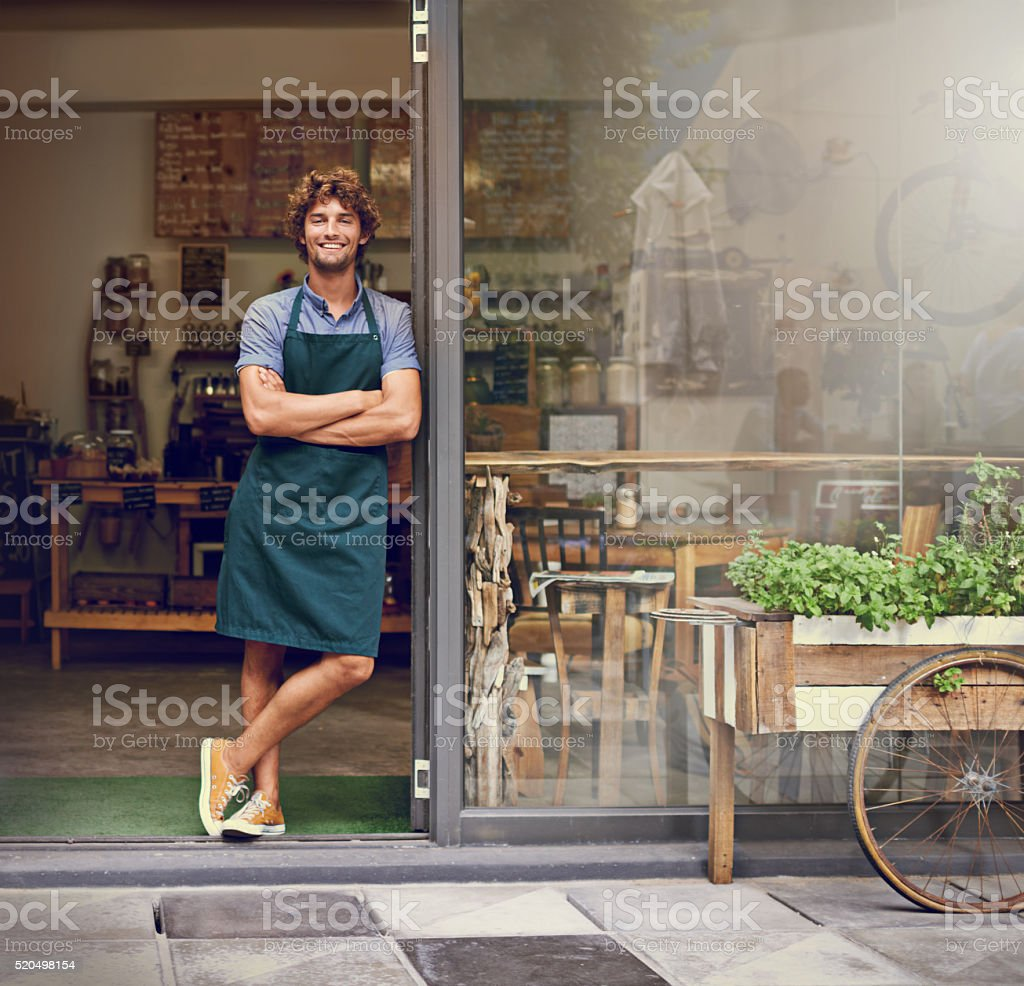 The secret to our amazing coffee lies behind these doors stock photo