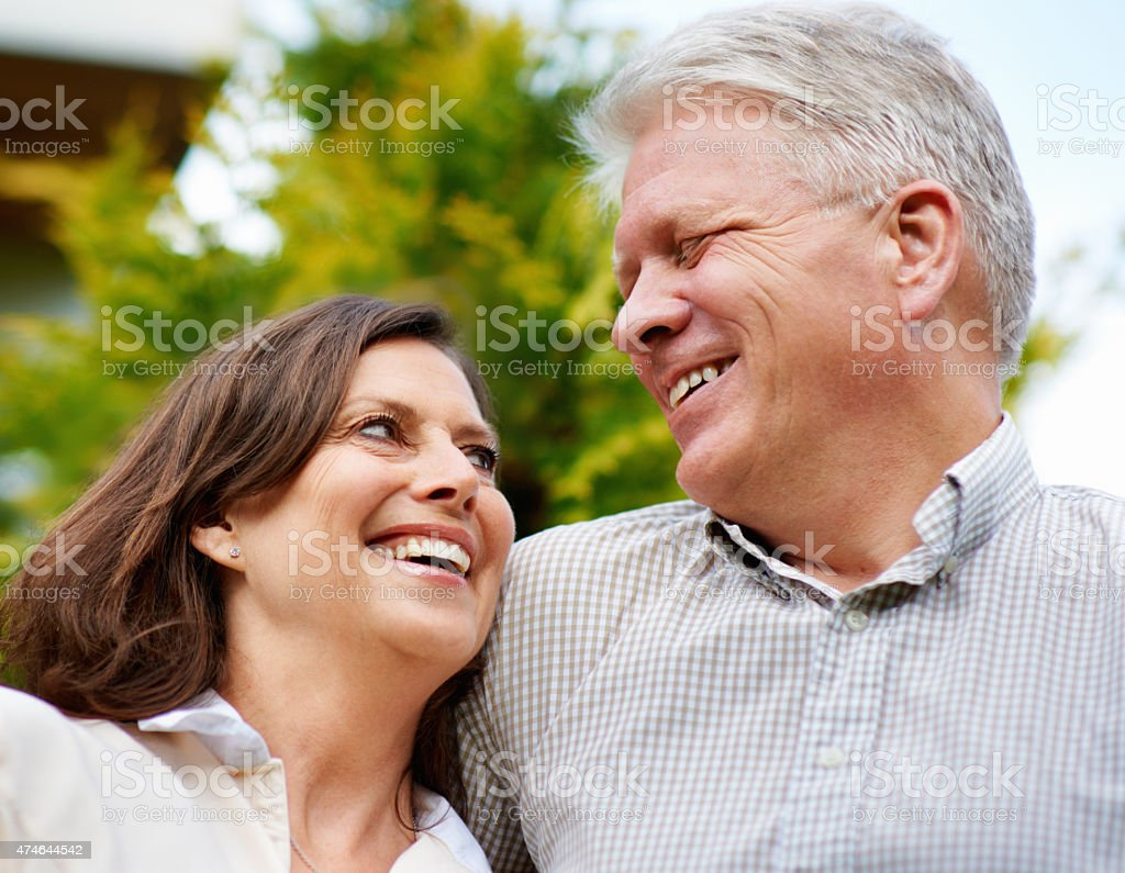 The secret to their happy marriage is love and laughter stock photo
