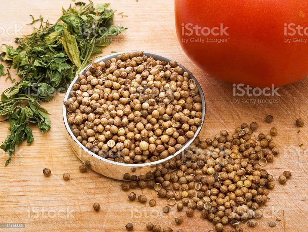 The seeds of coriander stock photo