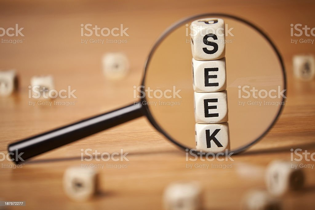 The SEEK Help Spelled In Letter Cubes Magnified royalty-free stock photo
