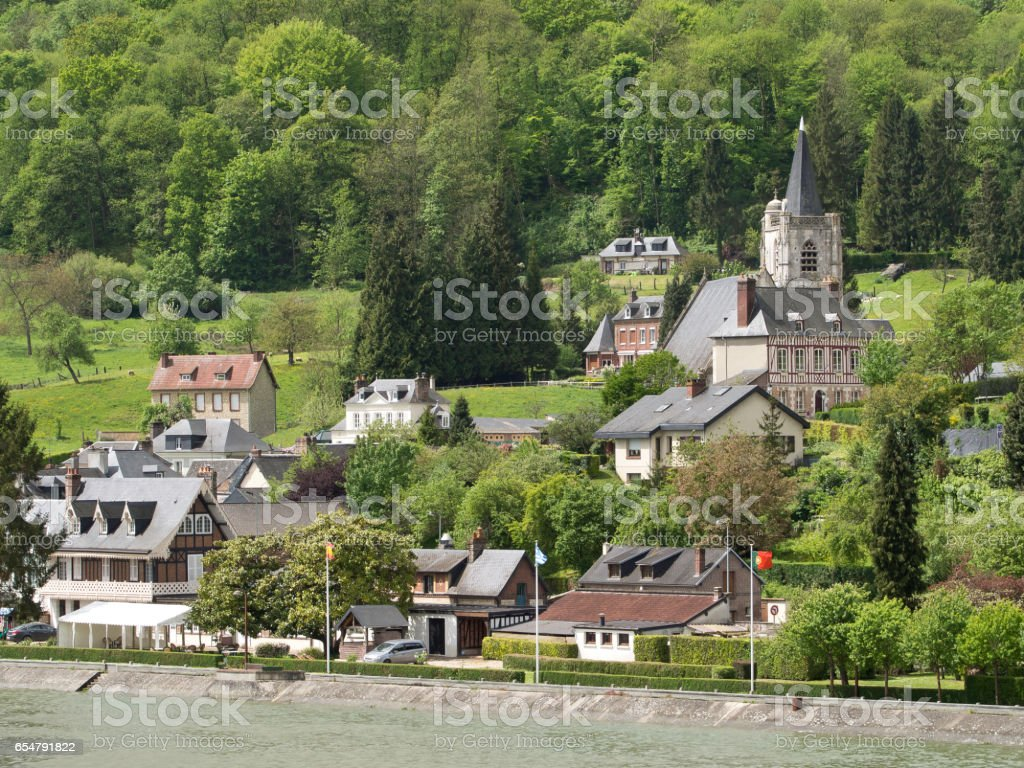 the seine in france stock photo