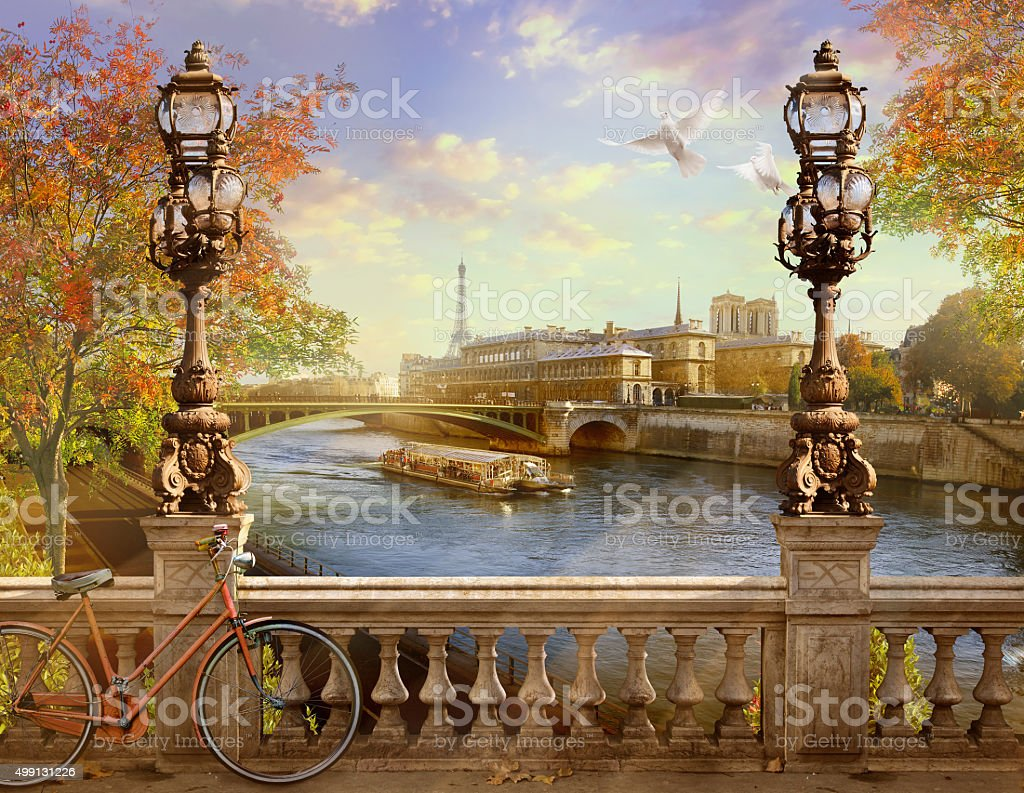 the Seine, Notre Dame de Paris. stock photo