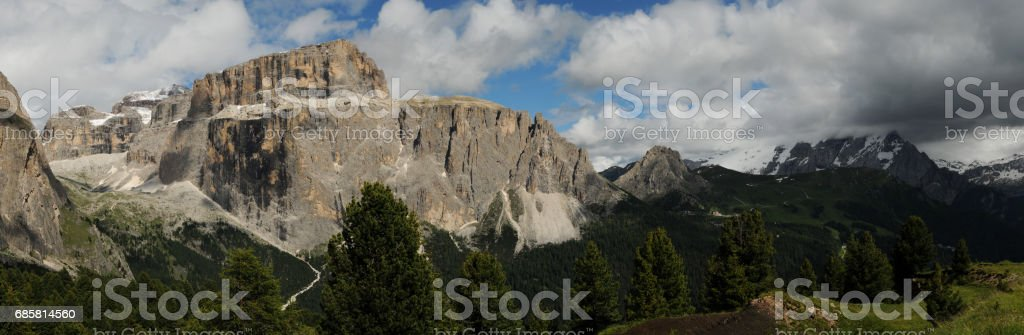 The Sella Group and Sass Pordoi in the Italian Dolomites, as seen from Passo Sella. Italy. stock photo