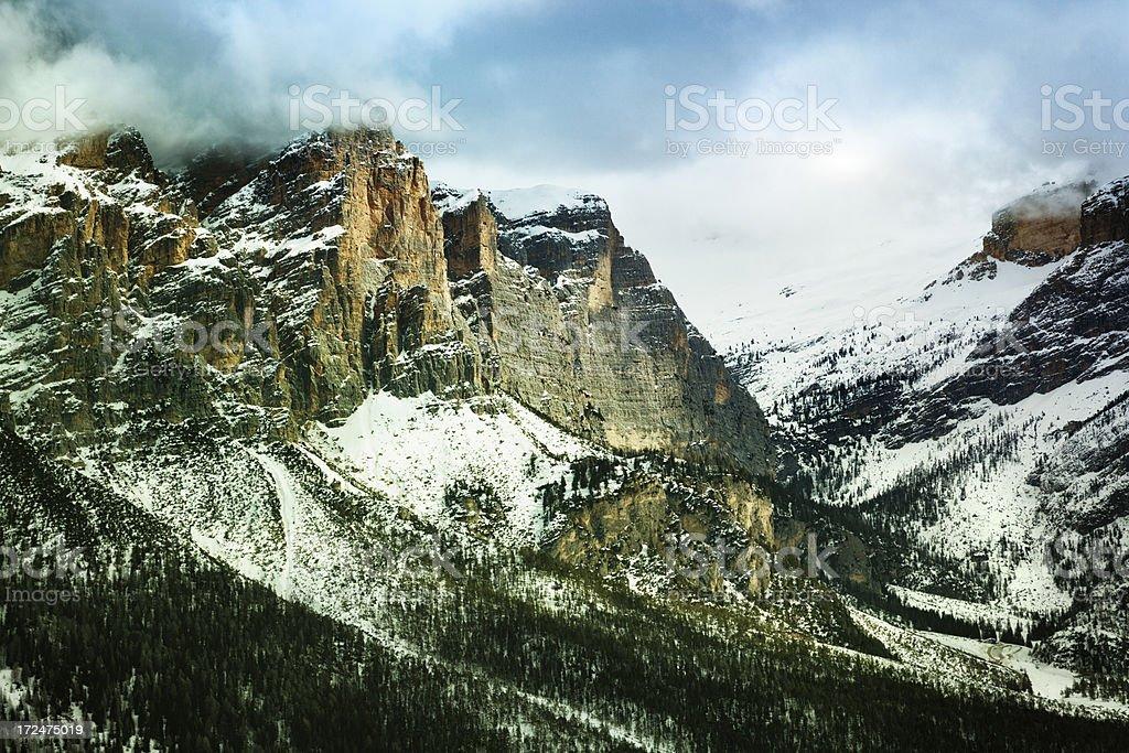 The Sella Massif, Dolomite Mountains, Italy stock photo