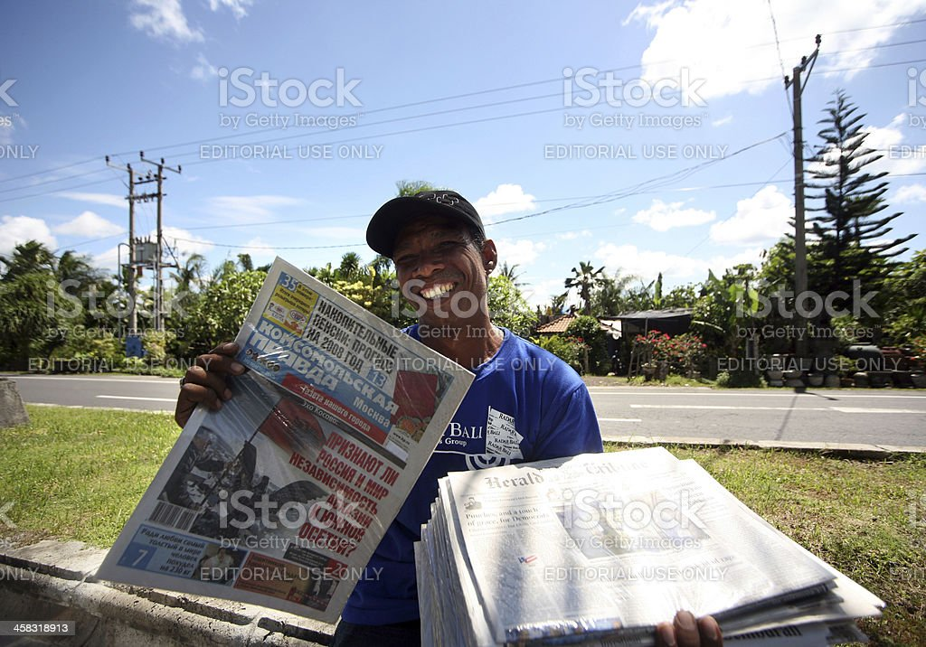 The seller of newspapers stock photo