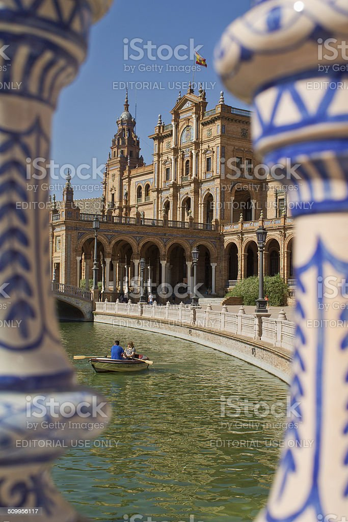The semi-circular plaza of spain in Seville, Andalucia, Spain. royalty-free stock photo