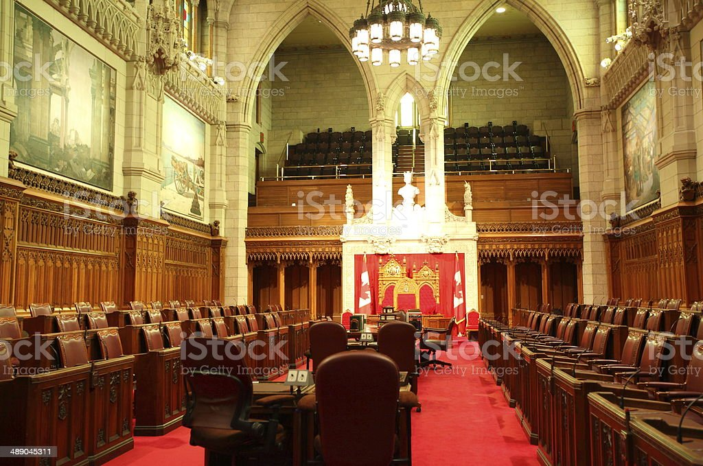 The Senate of Canada - Red chamber stock photo