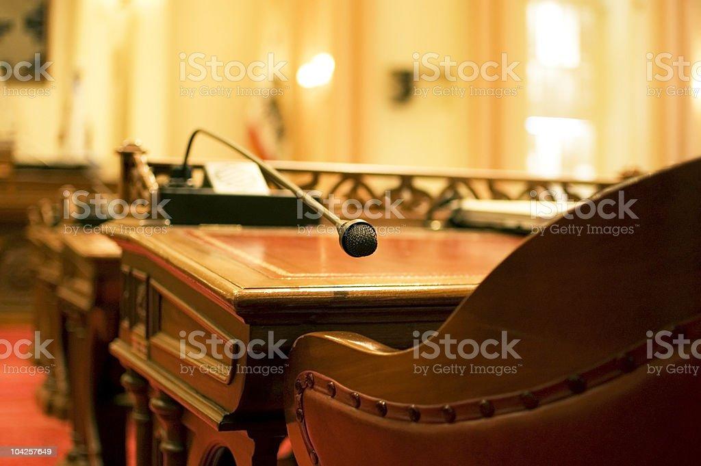 The Senator's Microphone stock photo