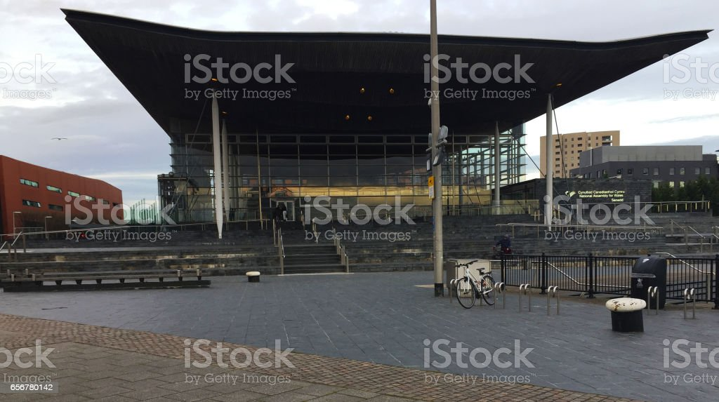 The Senedd, also known as the National Assembly building stock photo