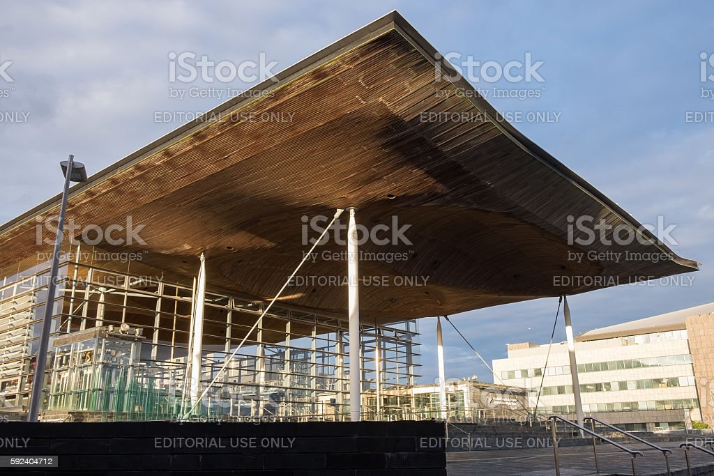 The Senedd, the National Assembly building for Wales, in Cardiff stock photo