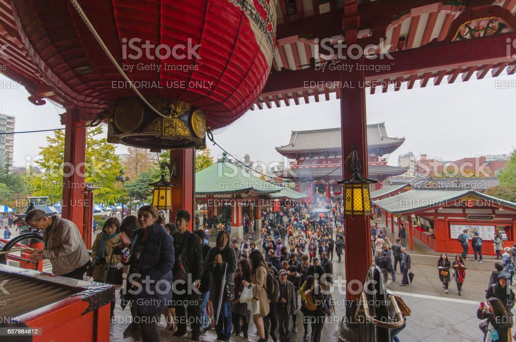 Tokyo, Japan - November 19, 2016 : The Senso-ji Temple in Asakusa, Tokyo, Japan . The Senso-ji Temple in Asakusa is the most famous temple in Tokyo . stock photo