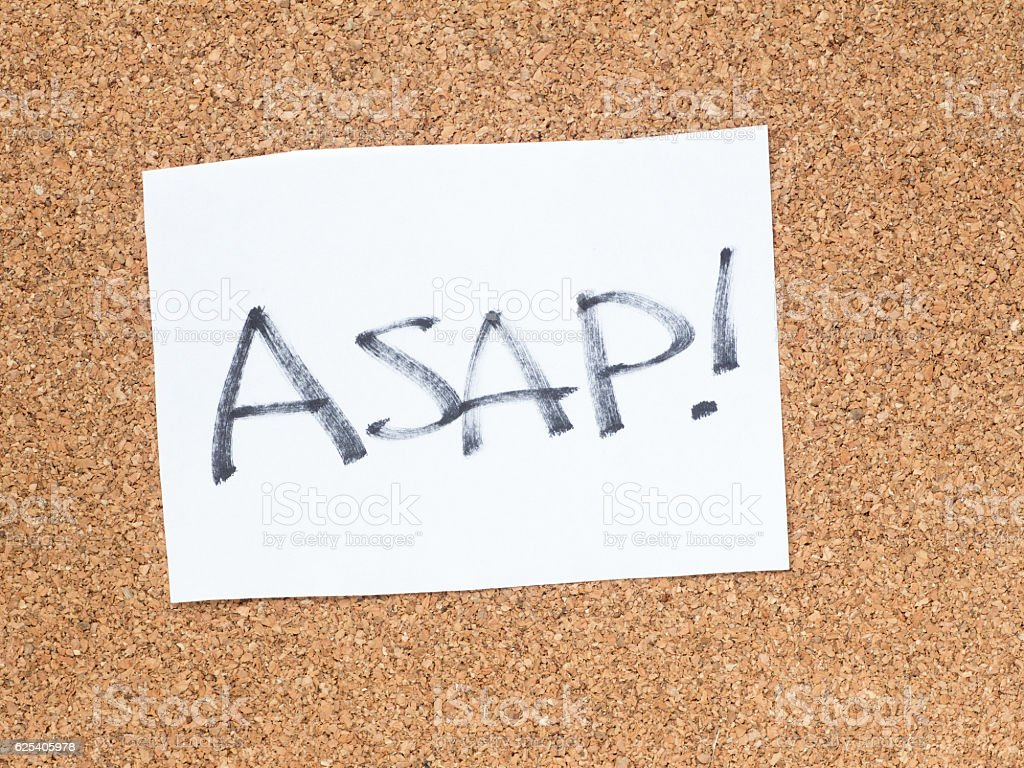 The series of a message on the cork board, ASAP stock photo