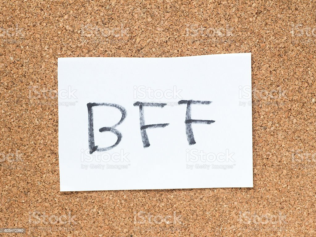 The series of a message on the cork board, BFF stock photo