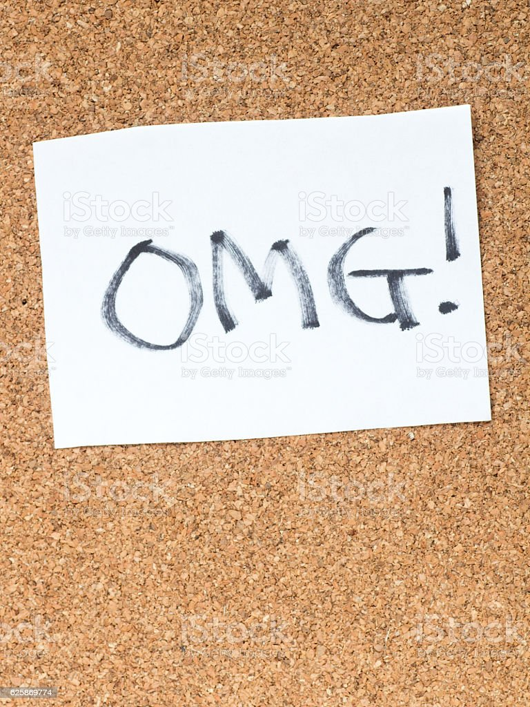 The series of a message on the cork board, OMG stock photo