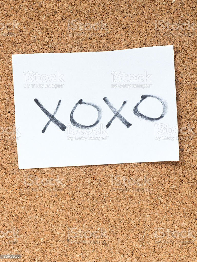 The series of a message on the cork board, xoxo stock photo