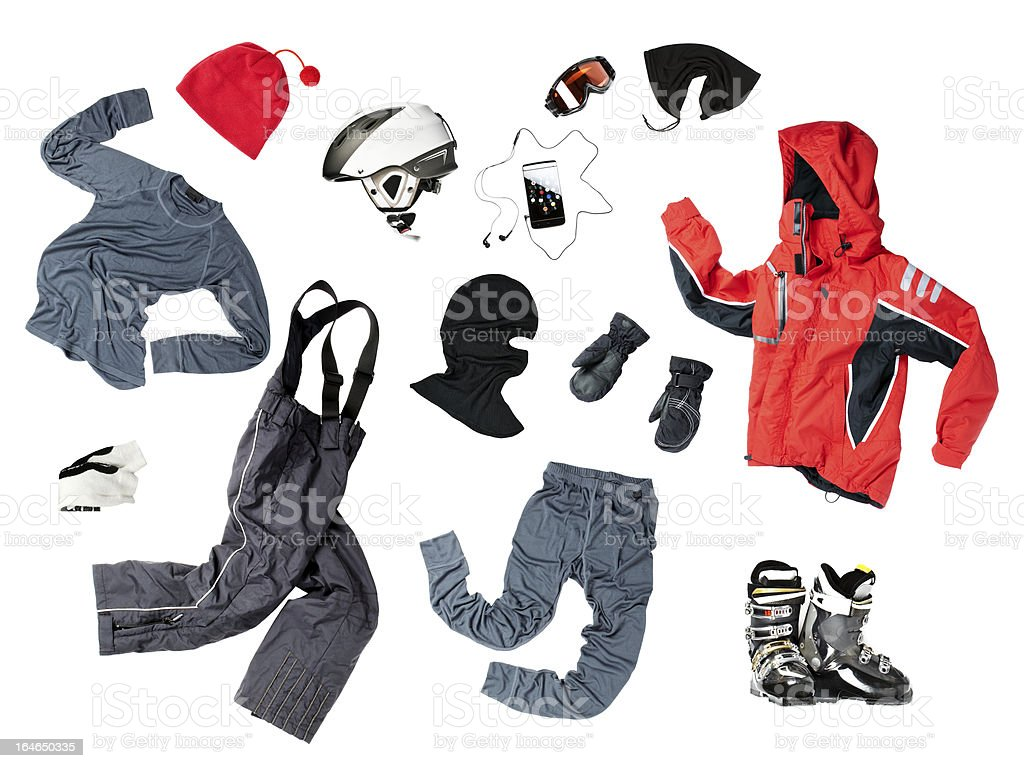 The set of child skier clothes stock photo