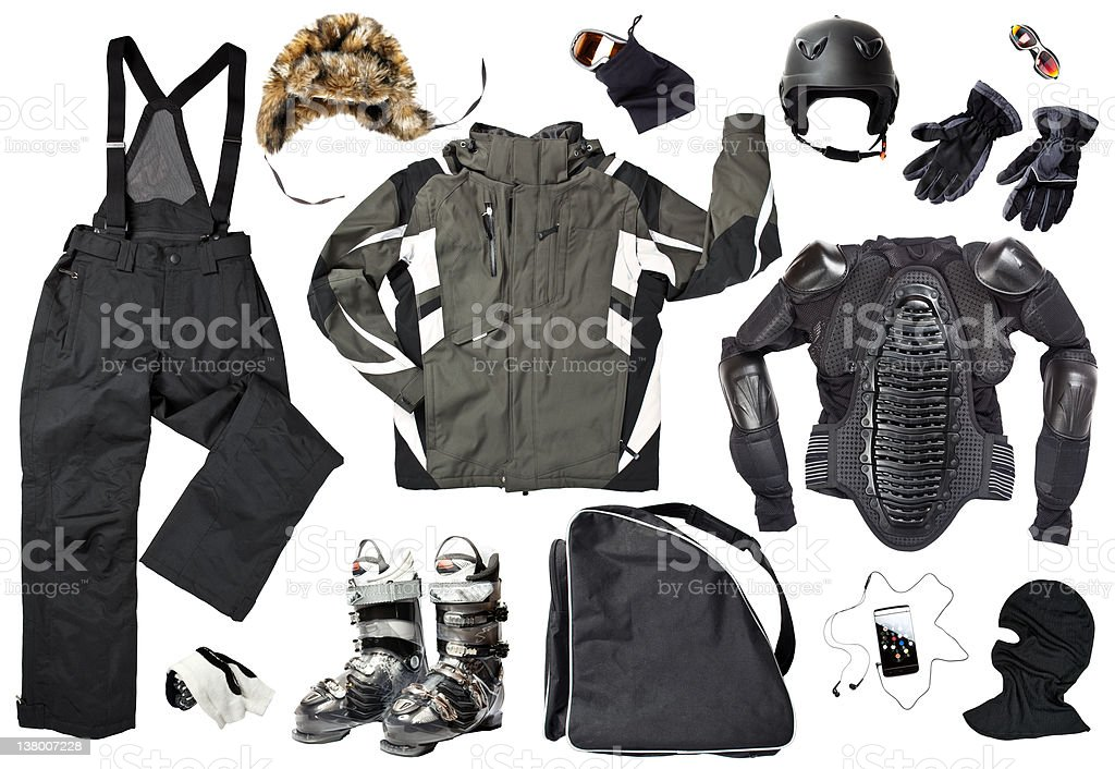 The set of men skier clothing and accessories stock photo