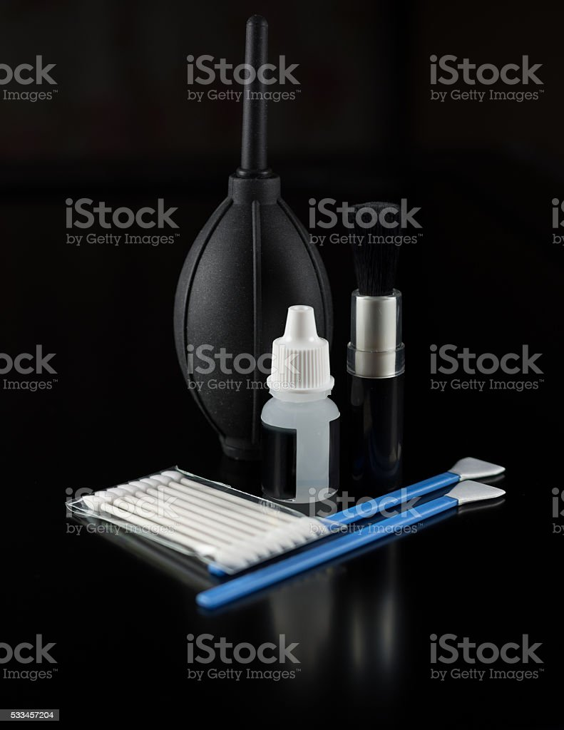 The set of objects for cleaning stock photo