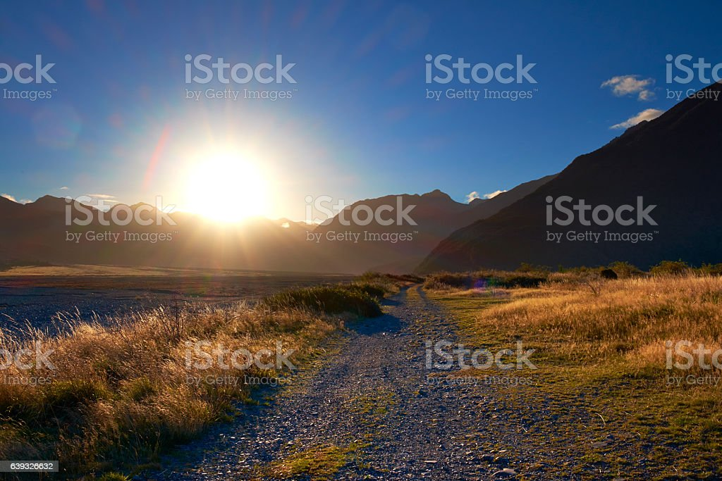 The Setting Sun At Arthur's Pass stock photo