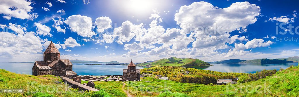 The Sevan temple complex stock photo