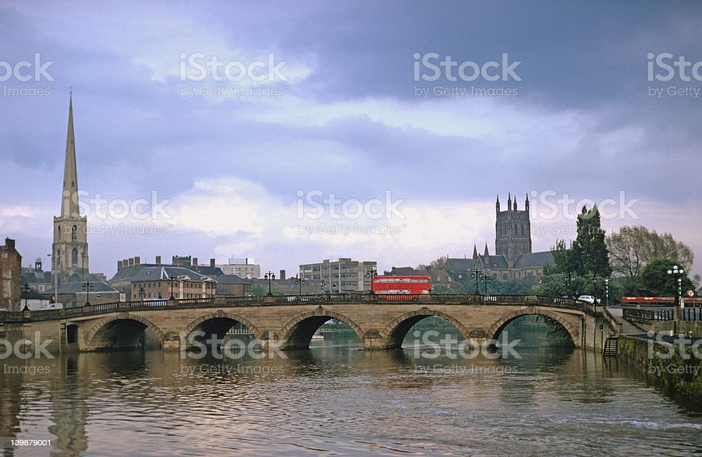 The Severn Bridge at Worcester, UK stock photo