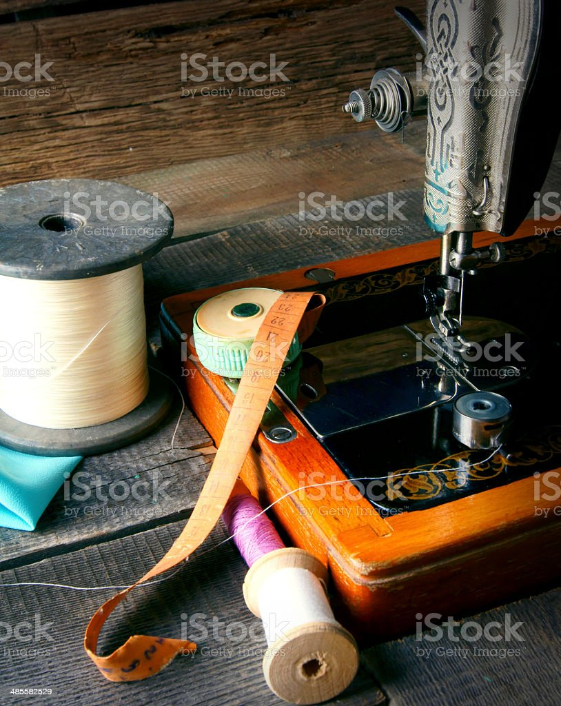 The sewing machine and tools. stock photo