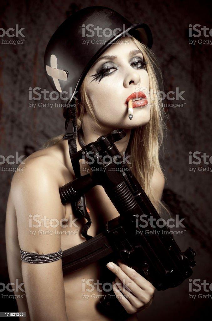 The sexy warior woman. royalty-free stock photo