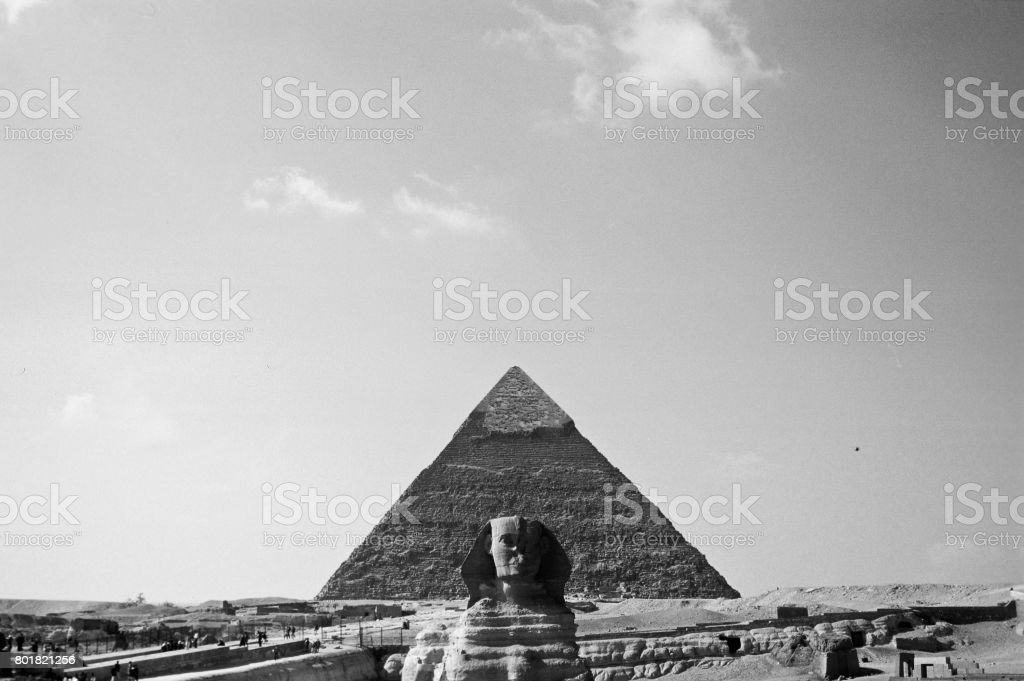 The Sfinx and the Great Pyramid of Giza. stock photo