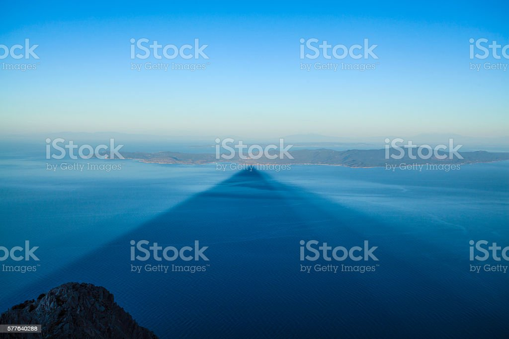 The shadow of the Holy Mount Athos stock photo