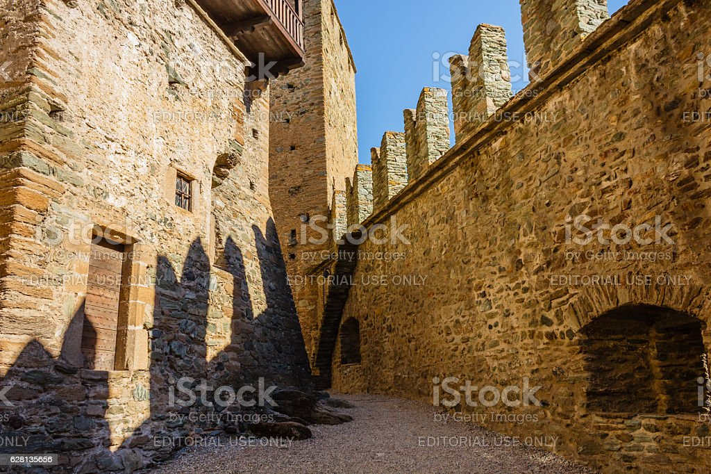 the shadows of the battlements of castle of  Fenis stock photo