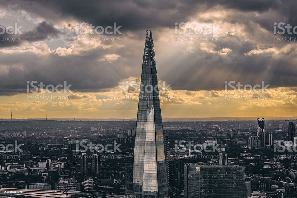 The Shard after the storm stock photo