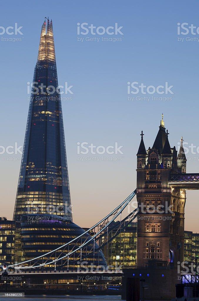 The Shard and Tower Bridge London at dusk royalty-free stock photo
