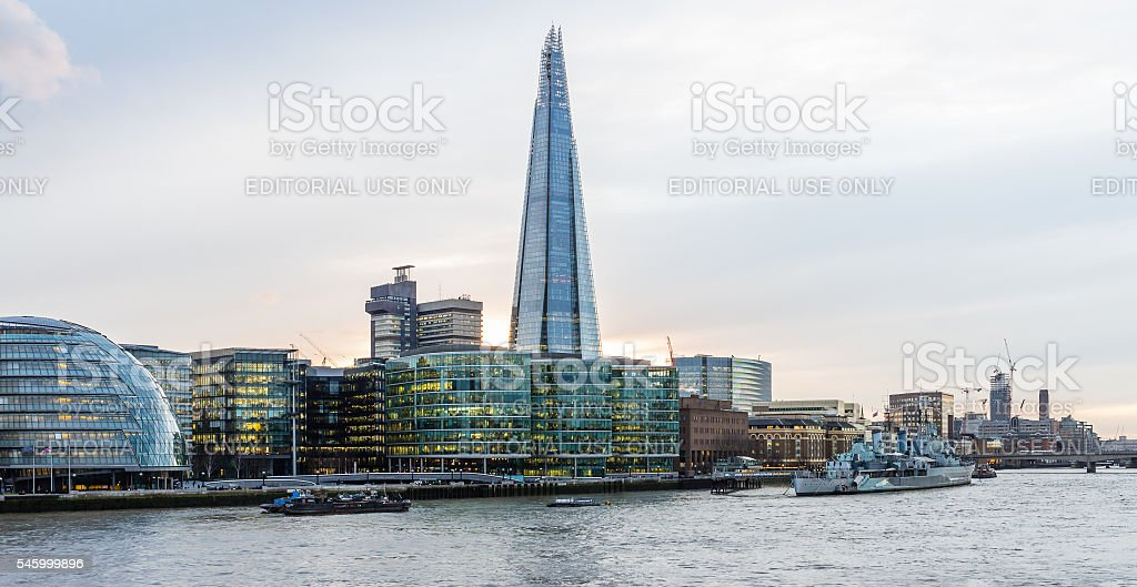 The Shard at center of City Hall and Thames riverside stock photo